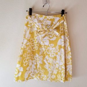 H&M Skirts - SOLD! H&M Yellow and White Floral Tie-Waist Skirt